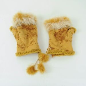 Accessories - Fingerless Gloves Faux Suede Rabbit Fur Trim